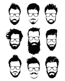 Set di acconciature per uomo con gli occhiali. collezione di sagome nere di acconciature e barbe.
