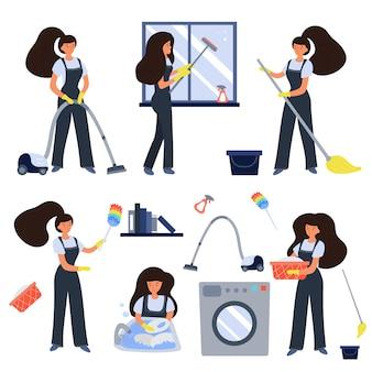 Set di addetti alle pulizie
