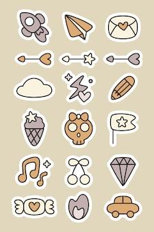 Set di adesivi adesivi doodle