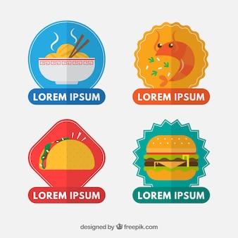 Set di adesivi alimentari in design piatto