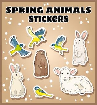 Set di adesivi animali primaverili. etichetta raccolta scarabocchi