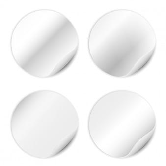 Set di adesivi bianco isolato su sfondo bianco.
