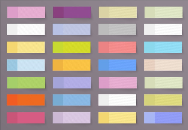 Set di adesivi colorati a forma diversa di bandiere e stile realistico. fogli adesivi di carta adesiva in bianco per informazioni sull'etichettatura.