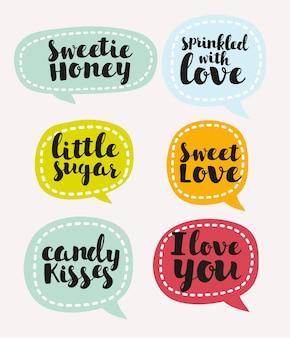Set di adesivi colorati, cartoline d'auguri di san valentino elemento di lettere disegnate a mano
