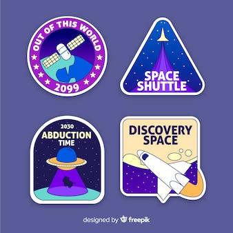 Set di adesivi colorati illustrati dello spazio