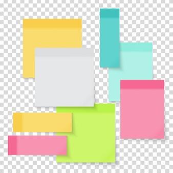 Set di adesivi colorati nota carta vuota