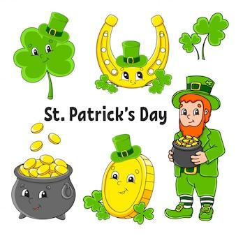 Set di adesivi colorati per bambini. festa di san patrizio. leprechaun con una pentola d'oro, moneta d'oro, trifoglio con cappello, ferro di cavallo dorato.