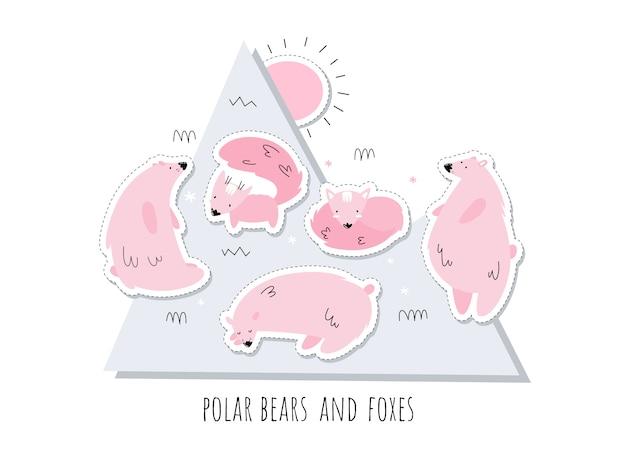 Set di adesivi con orsi polari rosa e volpi. alaska. set di isolati. stile scandi