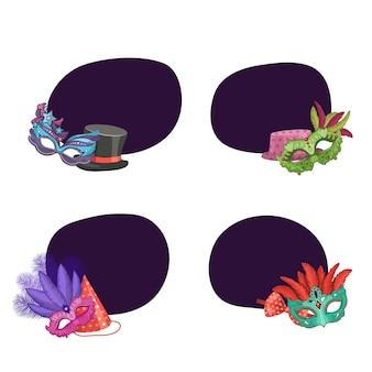 Set di adesivi con posto per il testo con maschere e festa
