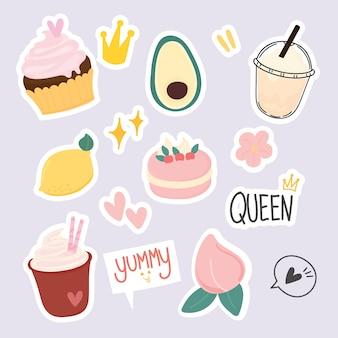 Set di adesivi da dessert carini
