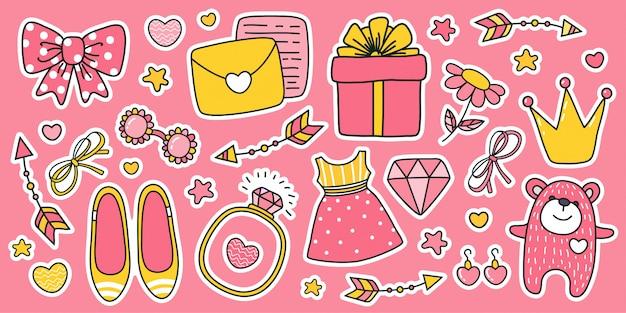Set di adesivi dei cartoni animati