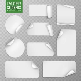 Set di adesivi di carta. pagina adesiva etichetta bianca, badge vuoto piegato nota banner appiccicoso angoli arricciati fogli avvolti. isolato