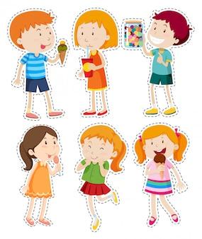 Set di adesivi di ragazzi e ragazze
