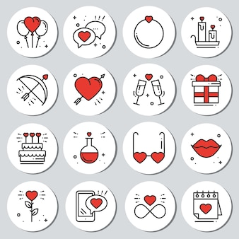 Set di adesivi di san valentino. badge etichette