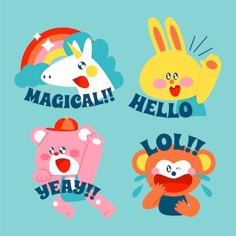 Set di adesivi disegnati a mano divertente