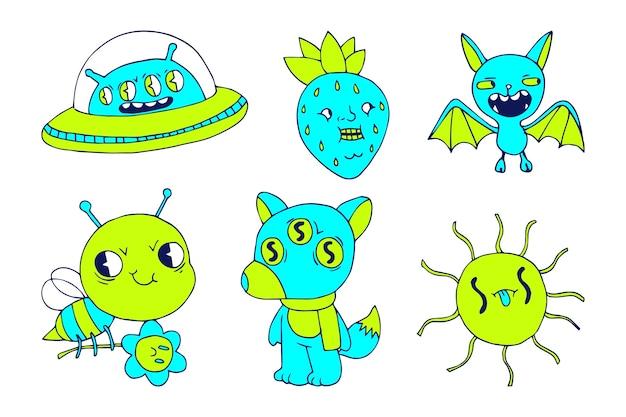 Set di adesivi divertenti disegnati a mano colori acidi