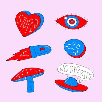 Set di adesivi divertenti disegnati a mano