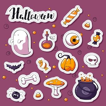 Set di adesivi doodle happy halloween. elementi di design dell'etichetta con scritte di halloween