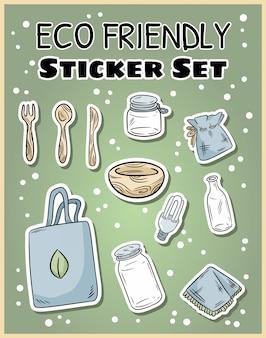 Set di adesivi eco-compatibili. raccolta ecologica e senza sprechi di etichette. vita verde