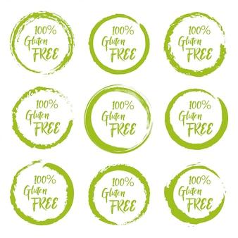 Set di adesivi etichetta senza glutine grunge su uno sfondo bianco