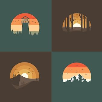 Set di adesivi icona paesaggio
