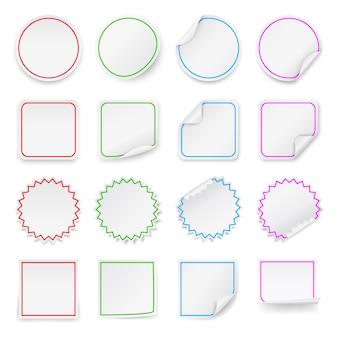 Set di adesivi in bianco.