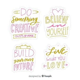Set di adesivi lettering motivazionali
