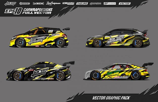 Set di adesivi per auto da corsa