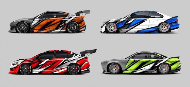 Set di adesivi per auto per rally e gara
