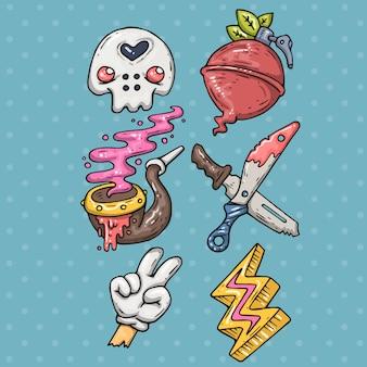 Set di adesivi per cartoni animati in stile comico alla moda degli anni '80 e '90. distintivi divertenti di doodle di vettore.