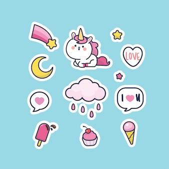 Set di adesivi per collezione di personaggi unicorno stile carino kawaii