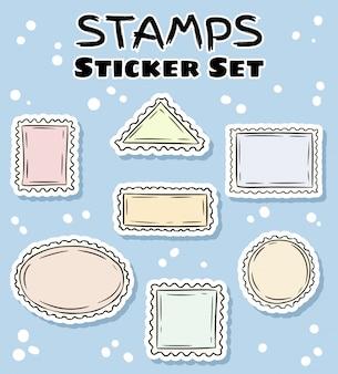 Set di adesivi per francobolli postali. collezione di etichette colorate