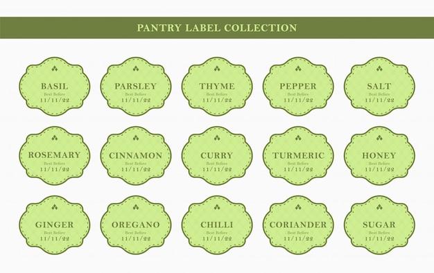 Set di adesivi per kit di etichette per condimenti da cucina pantry in elegante cornice verde