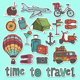 Set di adesivi schizzo di viaggio