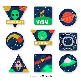 Set di adesivi spaziali moderni illustrati