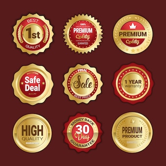 Set di adesivi vendita, qualità del prodotto e soldi indietro sigilli d'oro isolati
