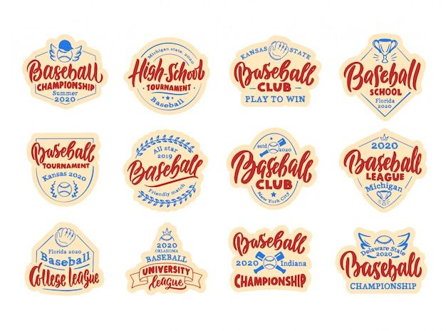 Set di adesivi vintage per baseball, patch. baseball club, scuola, badge campionato, modelli