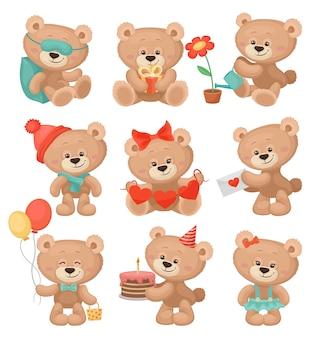 Set di adorabili orsacchiotti in diverse azioni.