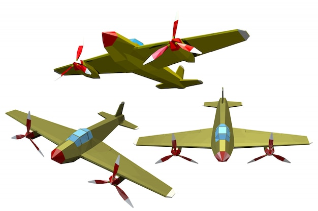 Set di aeroplani militari di colore su un bianco.