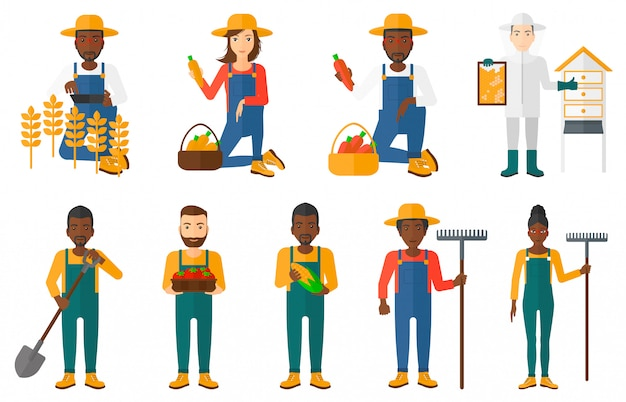 Set di agricoltori agricoli.