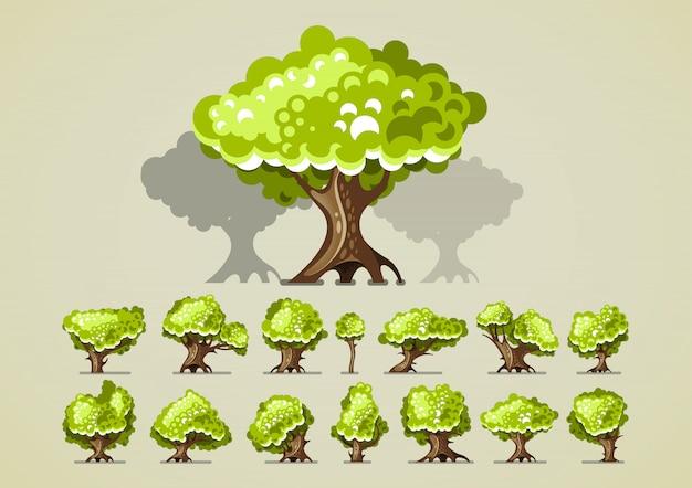 Set di alberi per videogiochi