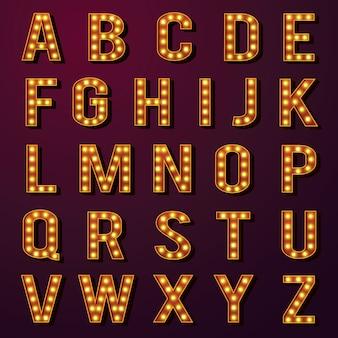 Set di alfabeti di lampadine