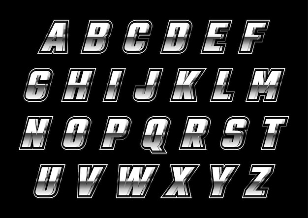 Set di alfabeti futuristici metallici argento 3d