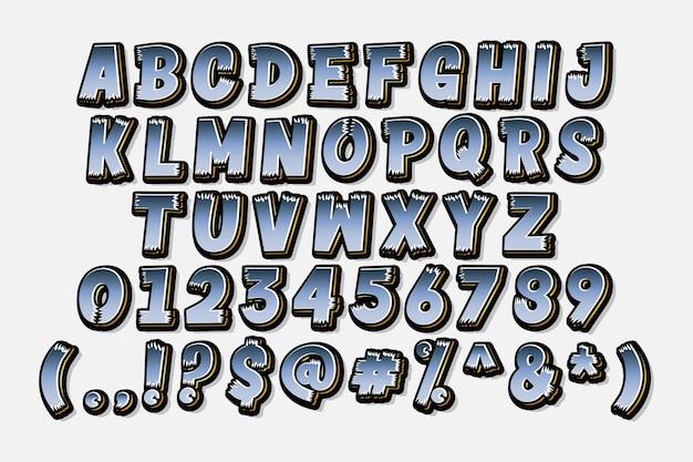 Set di alfabeto del fumetto alla moda
