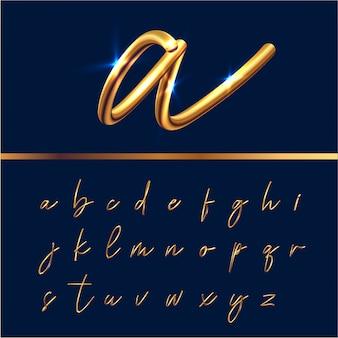 Set di alfabeto di testo dorato