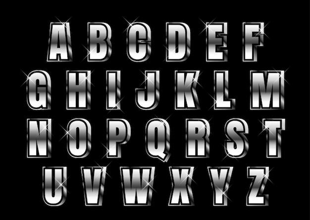 Set di alfabeto metallico argento forte 3d