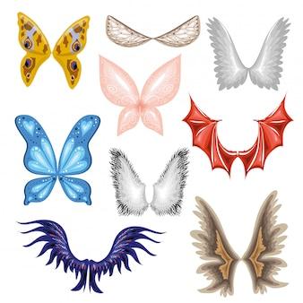 Set di ali di farfalla, uccello.