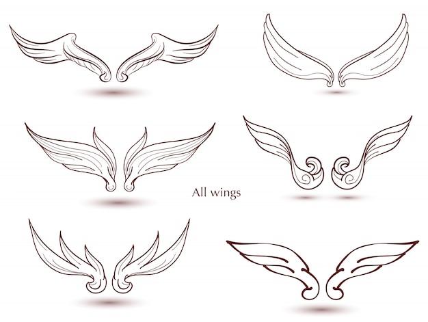 Set di ali disegnate a mano. doodle di vettore alato per decorare