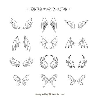 Set di ali disegnate a mano
