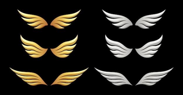 Set di ali sul nero